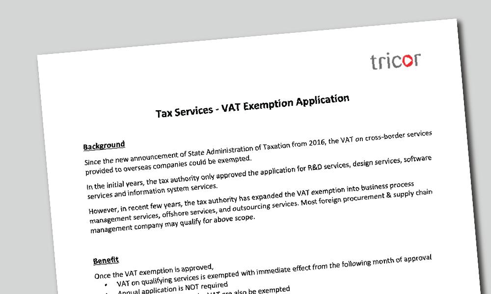 Tax Services - VAT Exemption Application