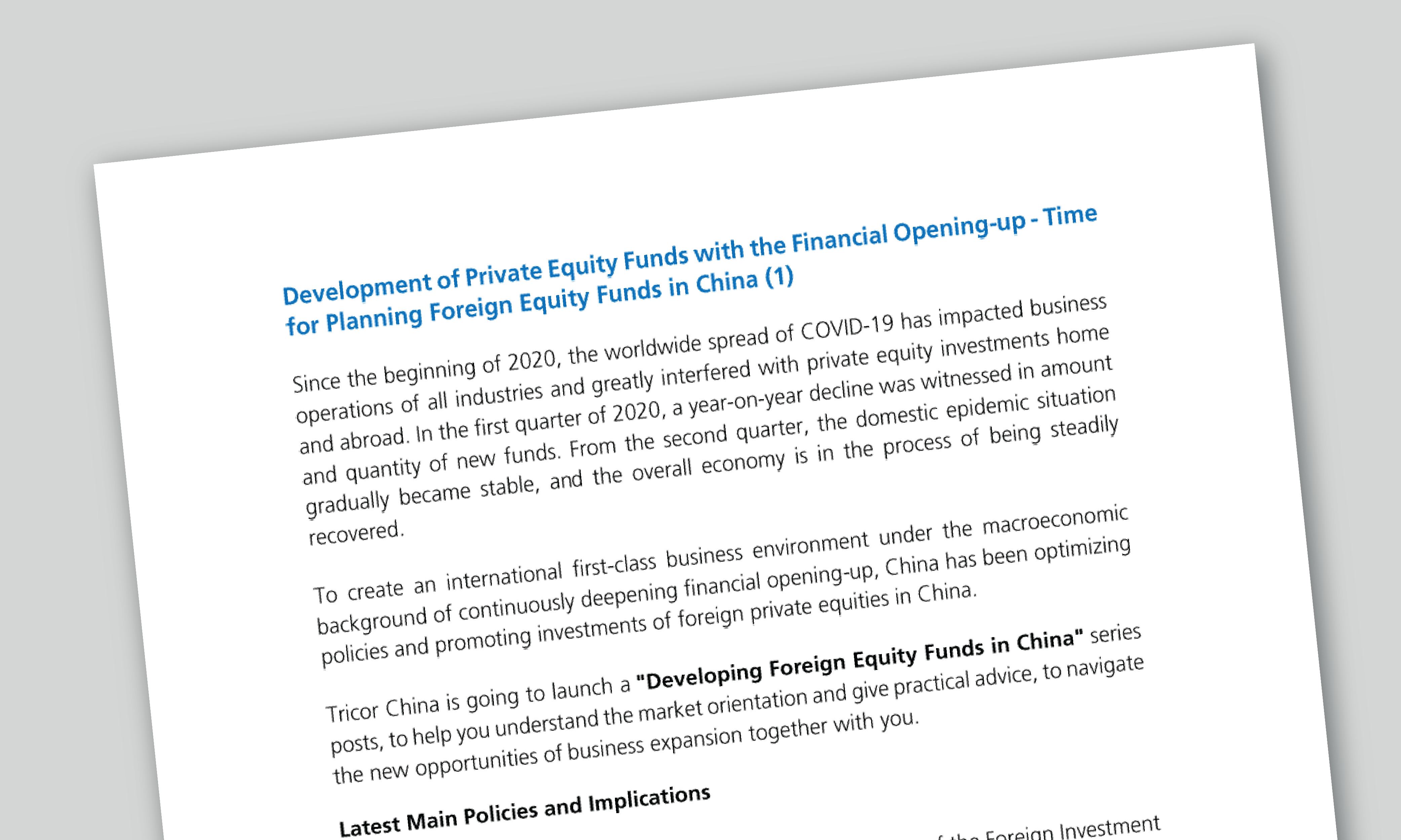 Development of Private Equity Funds with the Financial Opening-up - Time for Planning Foreign Equity Funds in China Cover Page