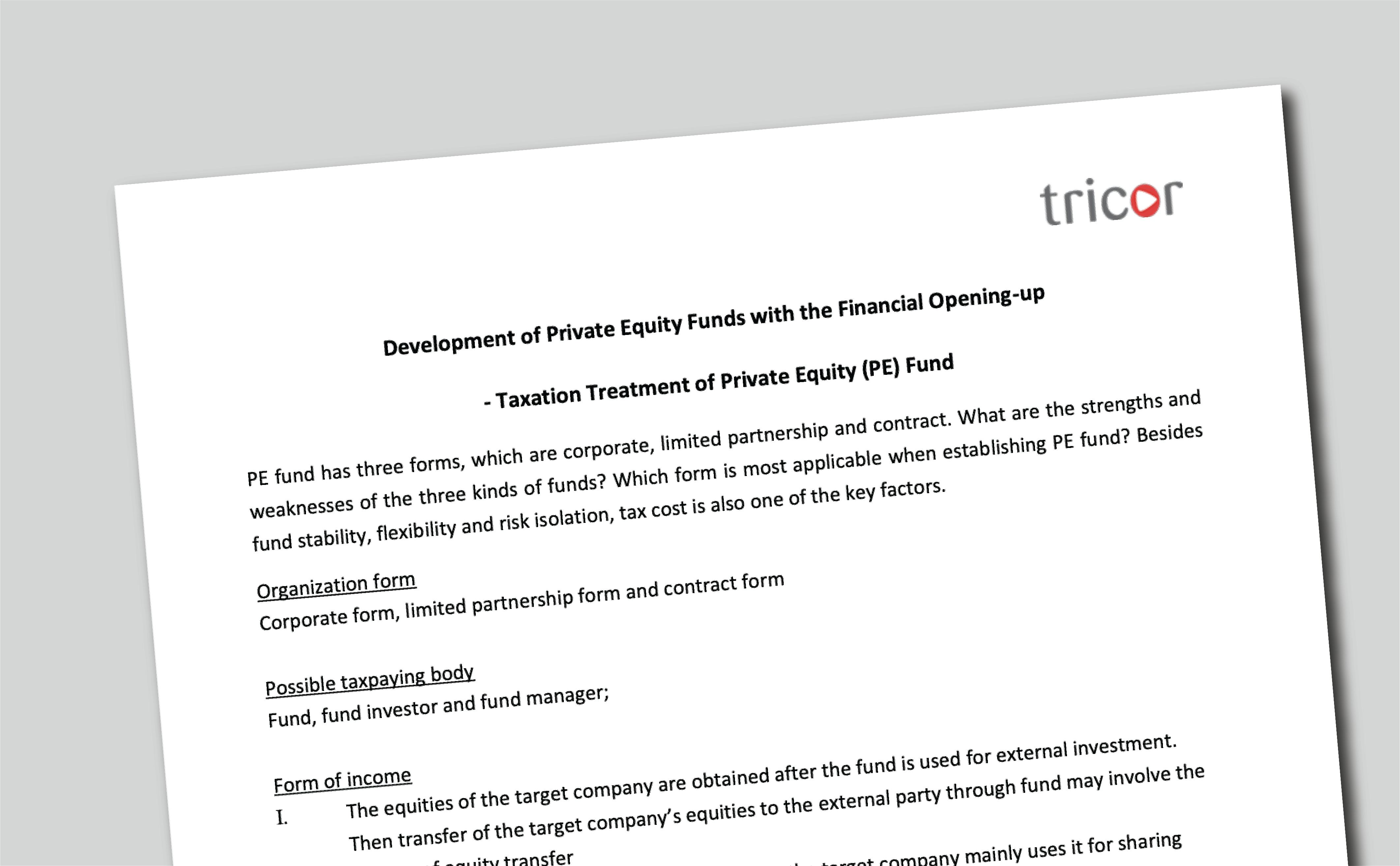 Development of Private Equity Funds with the Financial Opening-up  - Taxation Treatment of Private Equity (PE) Fund [EN]